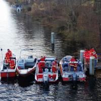 Die Boote der DLRG beim Landesruderverband